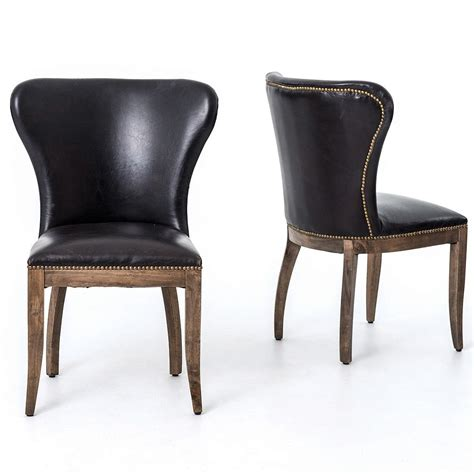 richmond black leather wingback dining chair dining