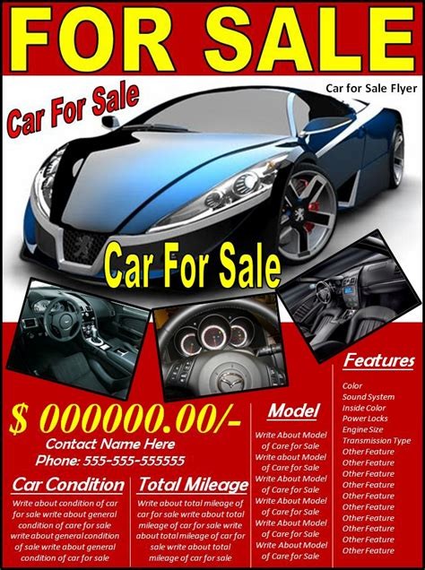 for sale flyer template 5 free car for sale flyer templates excel pdf formats