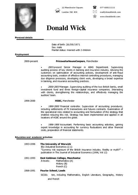 American Resumes Exles Format Of Cv American Curriculum Resume Exles