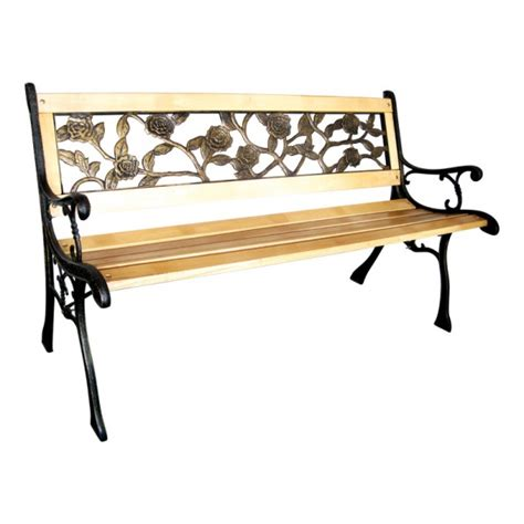 iron wood bench wood and cast iron garden 2 seater bench rose design