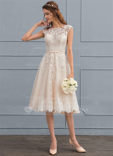 L Dress Princes a line princess scoop neck knee length tulle wedding dress