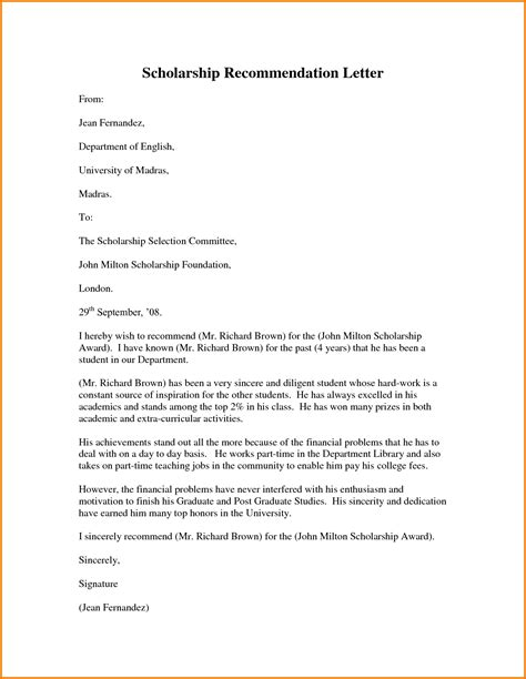 Sle Letter Of Recommendation For Master Scholarship Sle Cover Letter For Scholarship Apush Essay Andrew Jackson