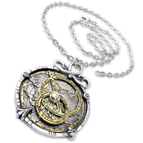 working astrolabe necklace of pewter and brass