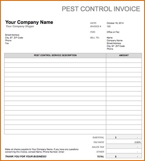 pest invoice template 8 free invoice templates authorizationletters org