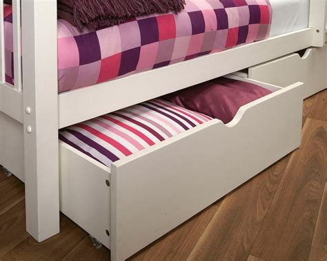 Bunk Bed With Pull Out Bed Underneath Sweet Bedroom Design With Coolest White Wooden Bunk Bed And Two Underbed Storage Drawer