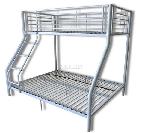 Metal Framed Bunk Beds Foxhunter New White Metal Children Sleeper Bunk Bed Frame No Mattress Ebay