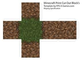 minecraft cut out templates minecraft grass dirt block template cut out