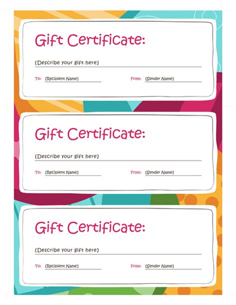 gift card templates for pages certificates office com