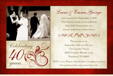 40th wedding anniversary invitations latset happy 40th wedding anniversary invitations