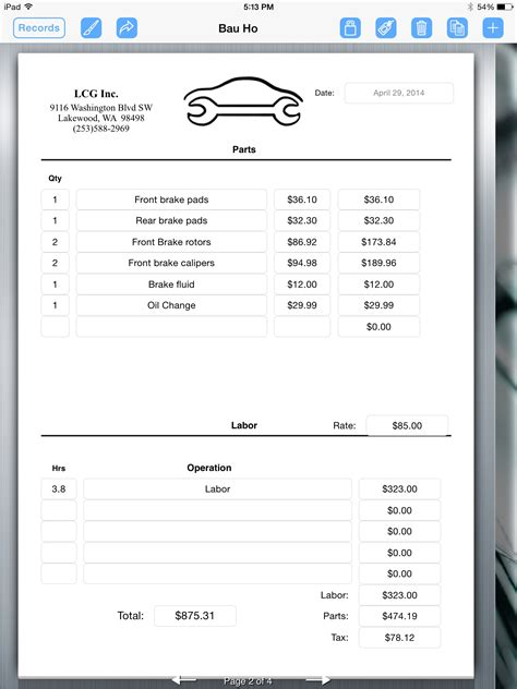 mechanic invoice template auto repair invoice auto repair service uses for