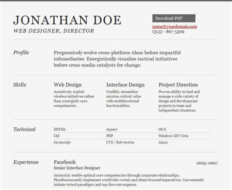 templates cv html 25 free html resume templates for your successful online