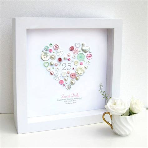 Paket Gift Anniversary personalised 25th pastel anniversary framed inspiration