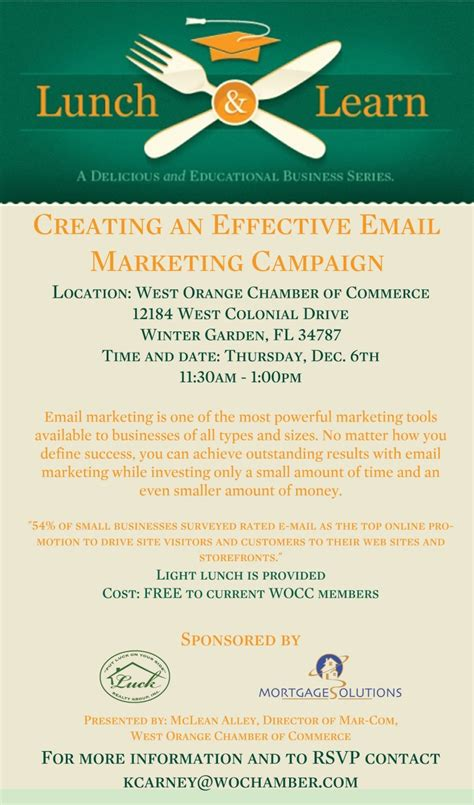 Lunch And Learn Template lunch and learn creating an effective email marketing