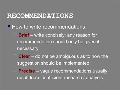 report writing conclusions recommendations sections