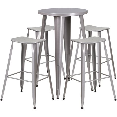 silver metal bar table 24 silver metal indoor outdoor bar table set with