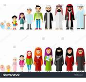 All Age Group Arab Family Generations Stock Vector