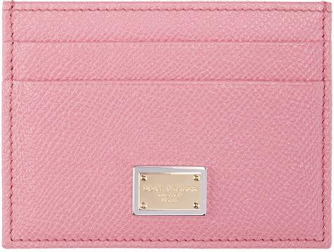 Card Holder Pink lyst dolce gabbana pink leather card holder in pink