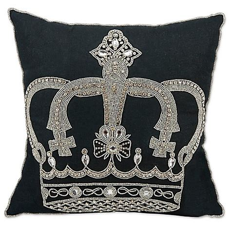 black bed pillows mina victory beaded crown throw pillow in black bed bath