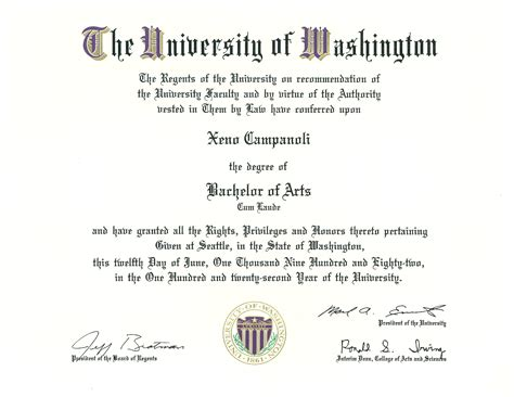 Mba After Ba In Economics by My Diploma For My 1982 Of Washington Ba In