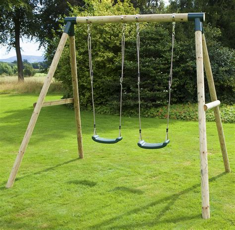 swing set rebo venus wooden garden swing set swing ebay