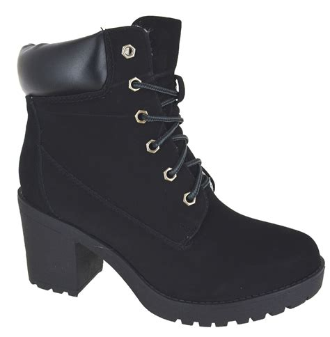womens high heel combat boots womens combat army chunky high heel biker