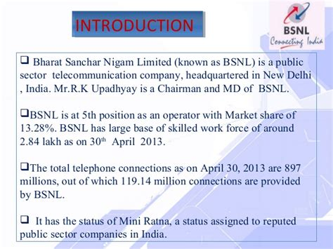 Mba Ppt On Telecommunication Industry by Bsnl Ppt