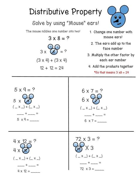 Factoring Using The Distributive Property Worksheet Answers by 1000 Ideas About Distributive Property On 4th