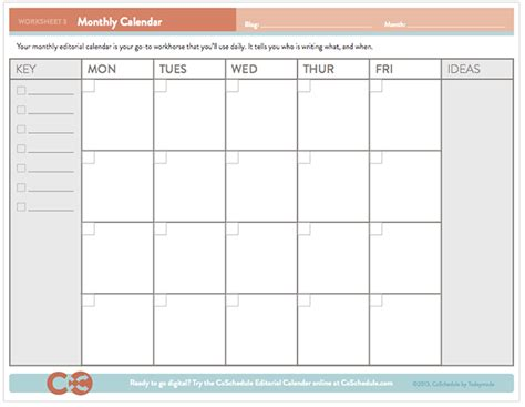 Monthly Editorial Calendar Template free editorial calendar template