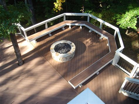 deck with built in pit trex synthetic deck with bench and pit archadeck