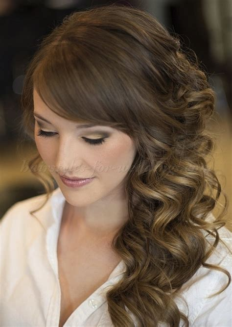 bridal hairstyles down to the side long wedding hairstyles side swept wedding hairstyle