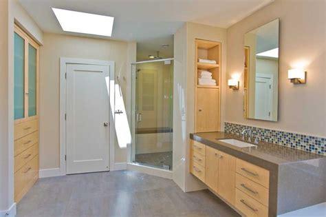 Single Wide Mobile Home Interior Design Master Bathroom With Vanity Shower Storage Skylight