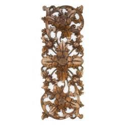 balinese traditional lotus flower carved wood panel bali