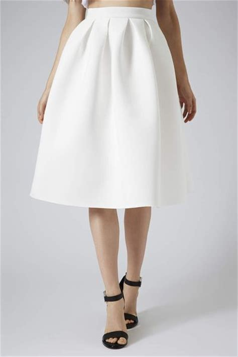 topshop pleat scuba midi skirt in white lyst