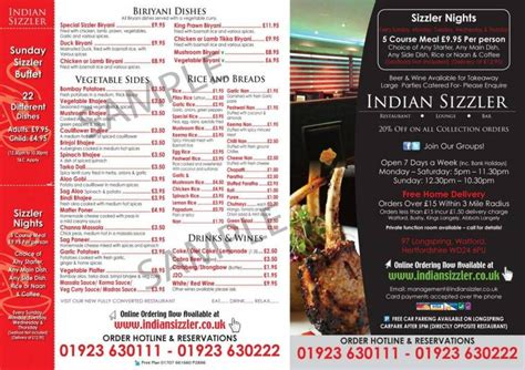1 of 4 price lists menus indian sizzler restaurant