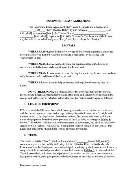 antenuptial contract template equipment lease agreement doc by legalzoom equipment