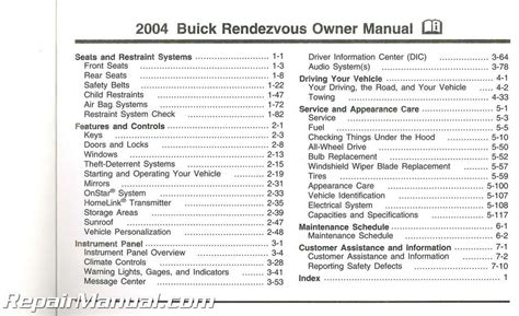 2004 buick rendezvous owners manual