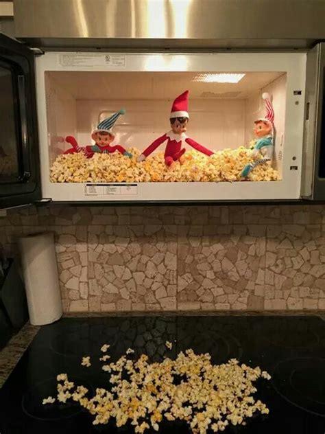 microwave popcorn explosion awesome elf   shelf ideas elf antics elf   shelf