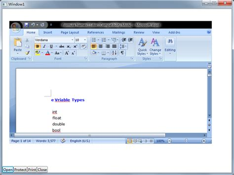 embedding ms word excel powerpoint into a wpf application