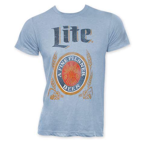 miller light t shirt miller lite light blue men s classic logo tee shirt