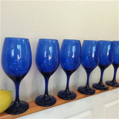blue colored wine best cobalt blue wine glasses products on wanelo