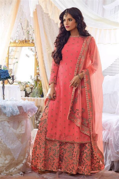 Best Hair Style Suites With Plazo | designr wear suits with embroidered plazo online peach