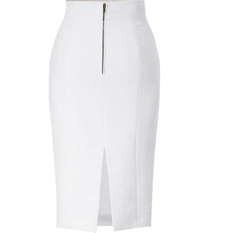 custom made white wool blend high waisted wiggle skirt