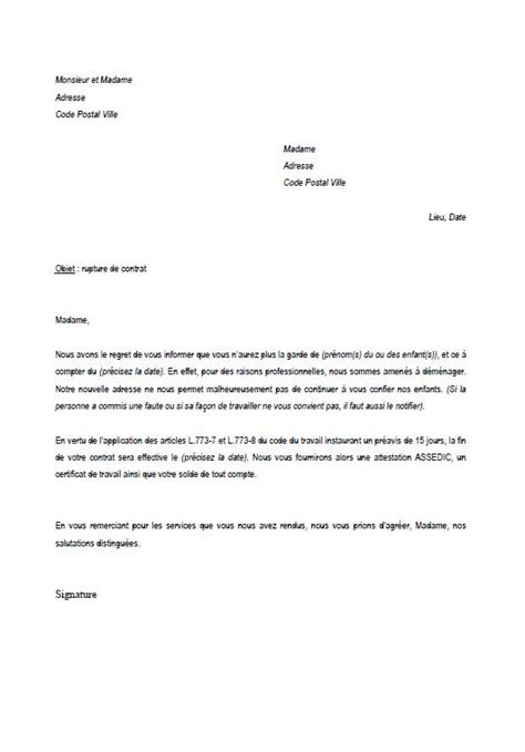 Modã Le Lettre De Dã Mission ã Ve Letter Of Application Modele De Lettre Rupture De Contrat De Travail Nourrice