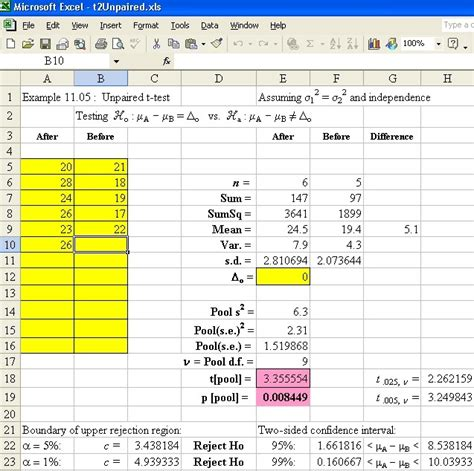Excel Spreadsheet Tests Practice by Engi 3423 7 Two Sle Hypothesis Tests Regression