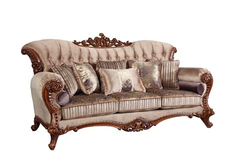 sofas with wood accents bordeaux carved wood beige tufted sofa with lavender accents