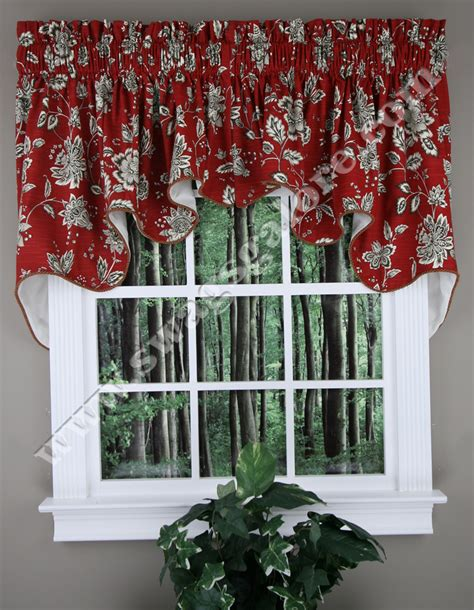 red swag kitchen curtains jeanette duchess valance country style swag curtain