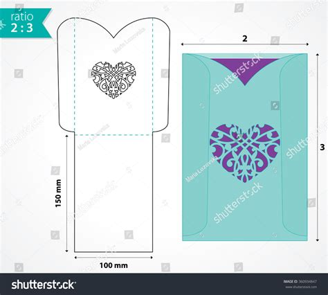 envelope pattern vector pocket envelope template die cut heart stock vector