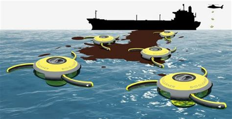 environmental boat cleaner oil cleanup concept uses marine roombas to clean oceans