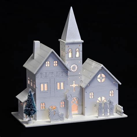 light up decorations white wooden church led light up