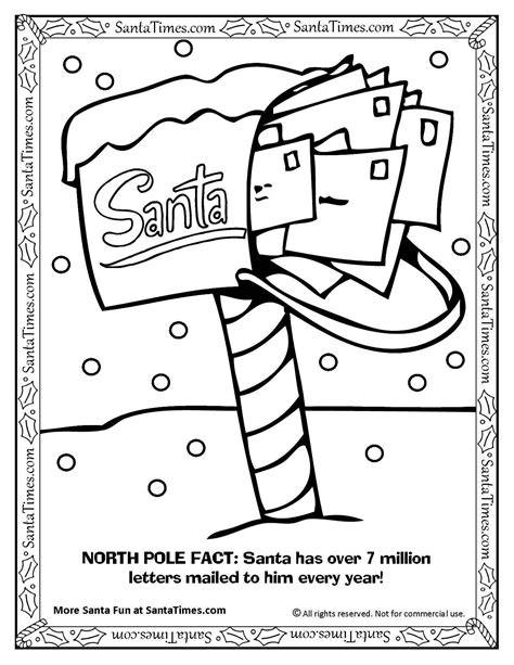 Santa S North Pole Mailbox Coloring Page Printout More The Pole Coloring Pages